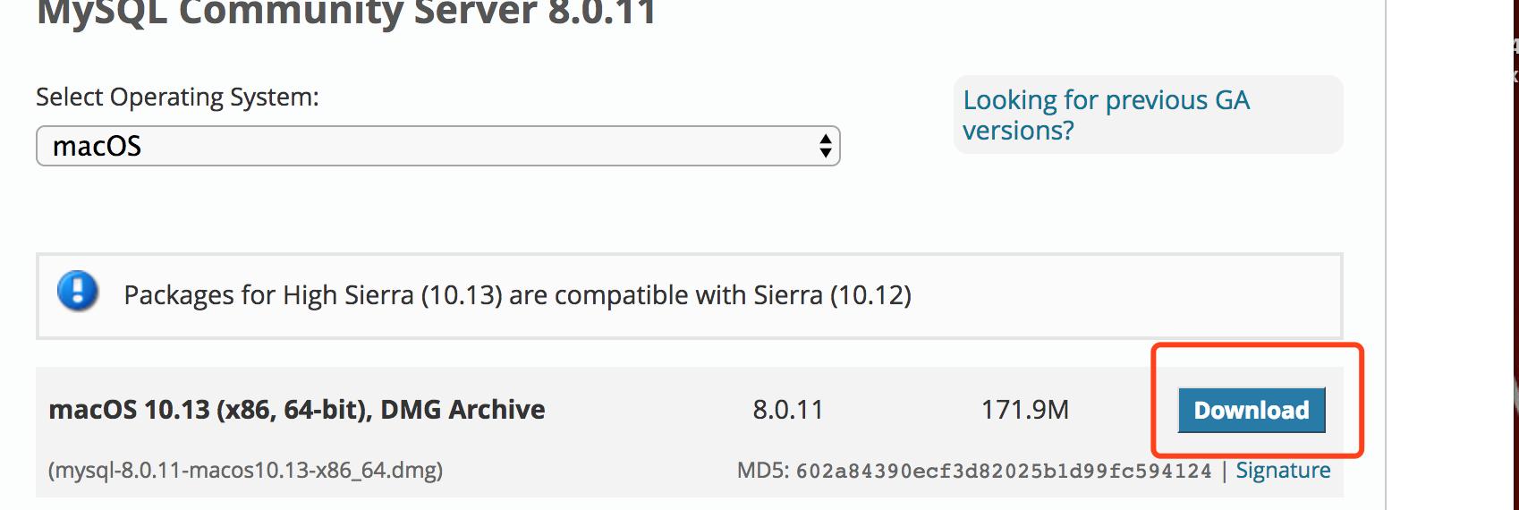 打开之后,如下图所示-选择macOS以及下载的MySql