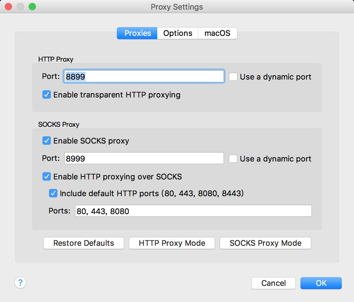 在导航栏选择Proxy->ProxySettings 或者在界面工具栏选择设置(齿轮图标)->ProxySettings