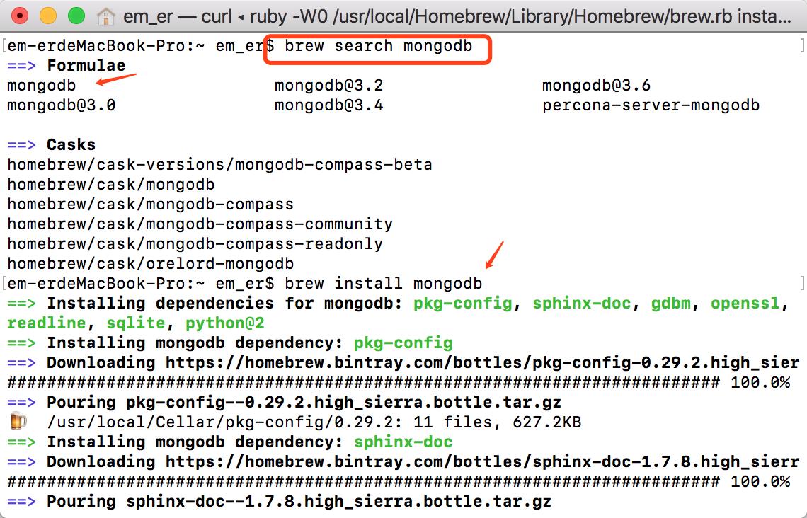 MacBook Pro通过Homebrew一键安装最新版MongoDB数据库、或者指定版本数据库