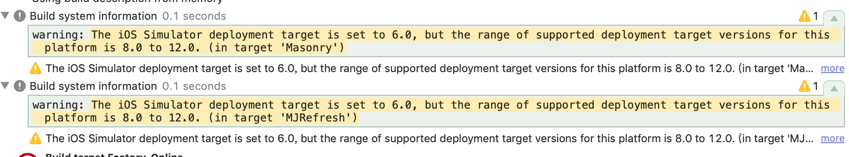 Xcode编译警告:warning: The iOS Simulator deployment target is set to 6.0, but the range of supported deployment target versions for this platform is 8.0 to 12.0. (in target 'Masonry')