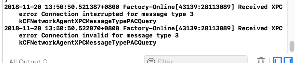 Xcode控制台打印:Received XPC error Connection interrupted for message type 3  kCFNetworkAgent XPCMessageTypePACQuery