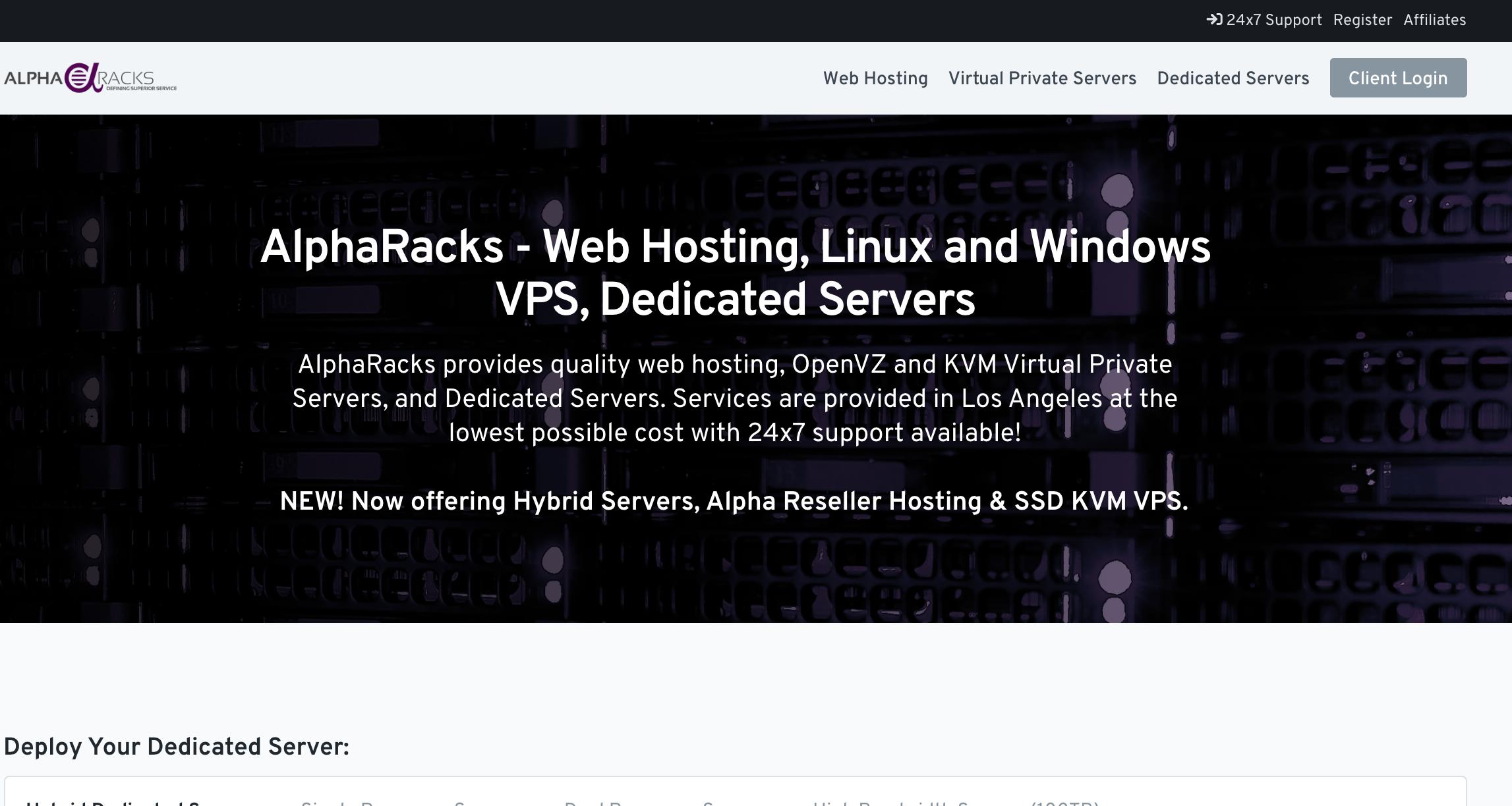 AlphaRacks月付19美元混合专用服务器,双Intel Xeon E5-2650 4x 2.00GHz,8GB内存,500GB存储,5个IPv4,免费IPv6,洛杉矶数据中心,AlphaRacks服务器优惠码