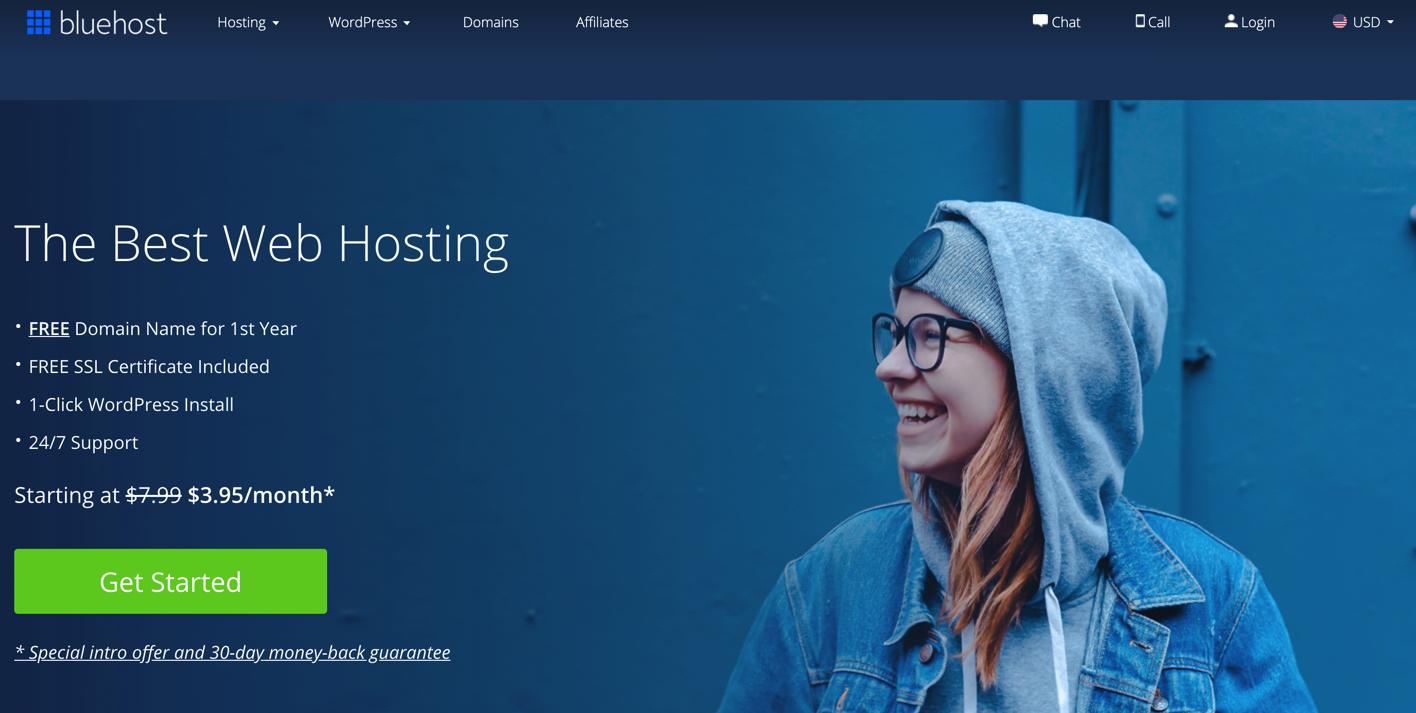 bluehost最新优惠活动,虚拟主机月付3美元起,bluehost VPS月付19美元起,bluehost服务器月付79美元起