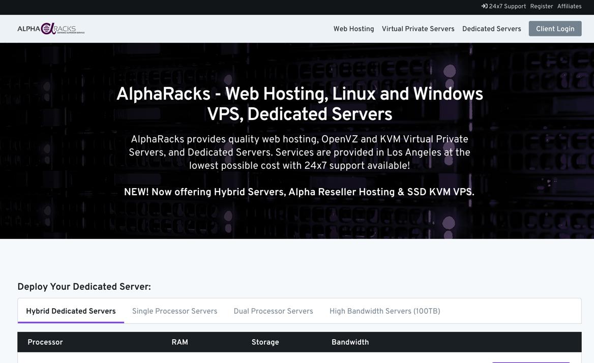 支持支付宝的AlphaRacks年付VPS低至12美元,洛杉矶数据中心支持IPv6,1.5Gb内存 30GB存储 2TB月流量,AlphaRacks最新优惠