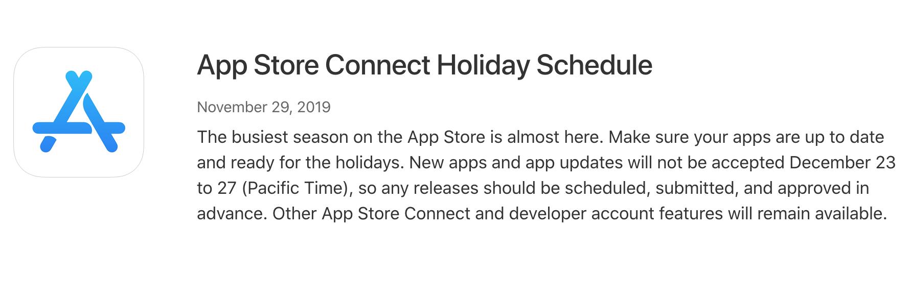 App Store Connect 放假安排